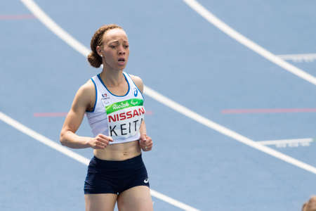 Rio, Brazil - september 10, 2016: KEITA Nantenin (FRA) during women 100m - T13 round 1 heat 1, in the Rio 2016 Paralympics Games 에디토리얼