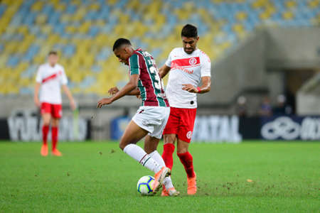 Rio, Brazil - august 03, 2019: Marcos Paulo player in match between Fluminense and Internacional by the Brazilian Championship in Maracana Stadium Editorial