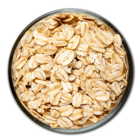 oats, grain, bulk in a bowl isolated on white background, top view Stok Fotoğraf