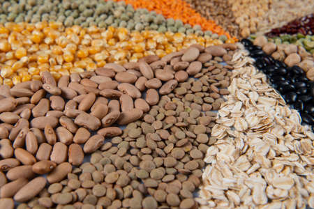 Big collection of different cereals and edible seeds. Grain angular pattern with top view Stok Fotoğraf