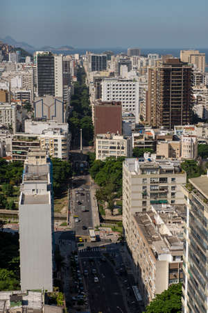 Rio de Janeiro, Brazil - may 11, 2019: aerial view of Leblon neighborhood in Rio de Janeiro with street and buildings in the foreground Stok Fotoğraf