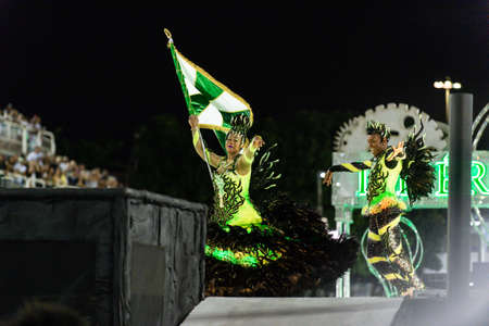 Rio, Brazil - march 03, 2019: Imperio Serrano Roxo during the Carnival Samba School Carnival RJ 2019, at Sambodromo Editöryel