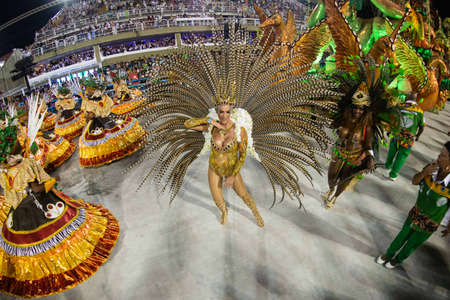 Rio, Brazil - march 02, 2019: Imperio da Tijuca during the Carnival Samba School Carnival RJ. Musa Samanta Flores Editöryel