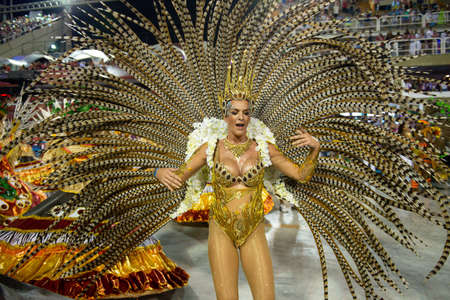 Rio, Brazil - march 02, 2019: Imperio da Tijuca during the Carnival Samba School Carnival RJ. Muse Samanta Flores Editöryel