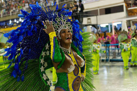 Rio, Brazil - march 02, 2019: Unidos de Bangu during the Carnival Samba School Carnival RJ 2019, at Sambodromo Editöryel