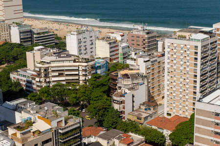 Rio de Janeiro, Brazil - may 11, 2019: aerial view of Leblon neighborhood in Rio de Janeiro with street and buildings in the foreground Editöryel