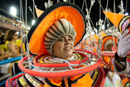 Rio, Brazil - march 03, 2019: Viradouro during the Carnival Samba School Carnival RJ 2019, at Sambodromo