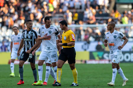 Rio, Brazil - september 08, 2019: Braulio da Silva Machado referee in match between Botafogo and Atletico-MG by the Brazilian Championship in Nilton Santos Stadium