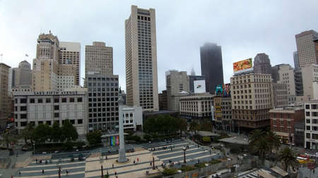 San Francisco, USA - june circa, 2019: Top view of Union Square in the city center.