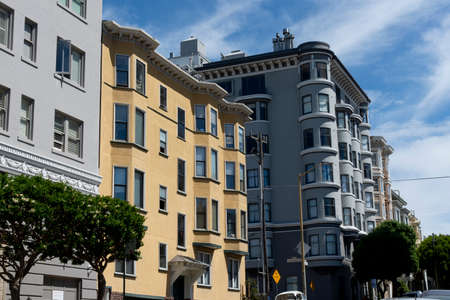 San Francisco, USA - june circa, 2019: facade of old victorian buildings during the day