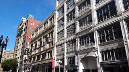 San Francisco, USA - june circa, 2019: facade of old buildings during the day Editorial