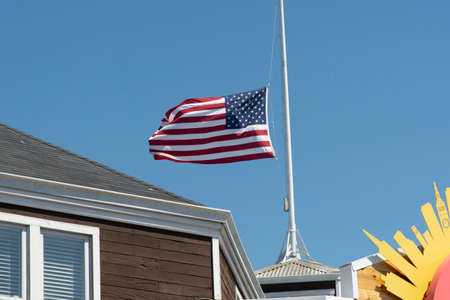 San Francisco, June 03, 2019 - American flag in a pole wing
