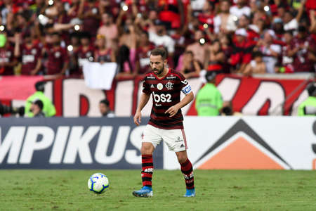 Rio, Brazil - november 03, 2019: Everton Ribeiro player in match between Flamengo and Corinthians by the Brazilian Championship in Maracana Stadium