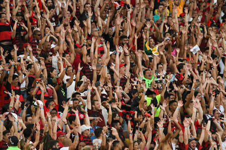 Rio, Brazil - november 03, 2019: Fans in match between Flamengo and Corinthians by the Brazilian Championship in Maracana Stadium Editorial