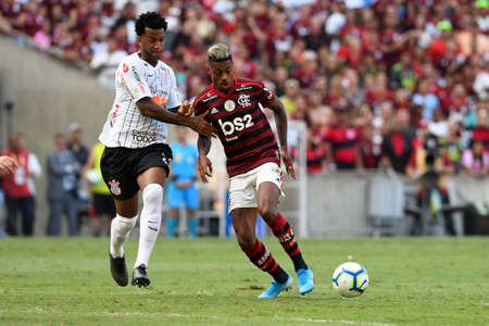 Rio, Brazil - november 03, 2019: Bruno Henrique and Gil player in match between Flamengo and Corinthians by the Brazilian Championship in Maracana Stadium Editorial