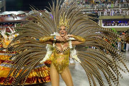 Rio, Brazil - march 02, 2019: Imperio da Tijuca during the Carnival Samba School Carnival RJ. Musa Samanta Flores Editorial