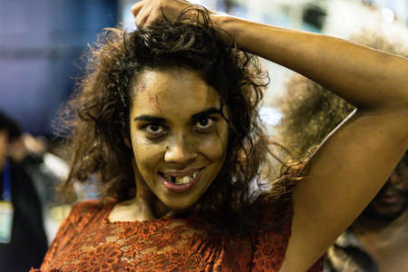 Rio, Brazil - march 03, 2019: Imperio Serrano Roxo during the Carnival Samba School Carnival RJ 2019, at Sambodromo