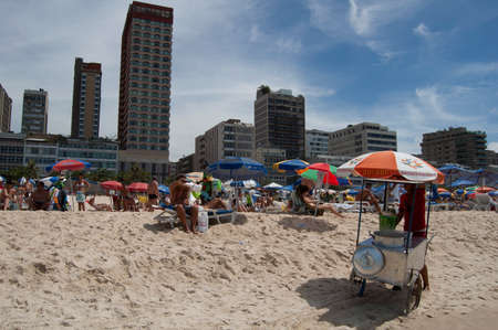 Rio de Janeiro, Brazil - december 31, 2005: Bather enjoy summer day at Ipanema Beach