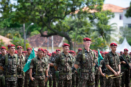 Rio de Janeiro, Brazil - november 23, 2019:  Military in formation during 74th Anniversary of Parachutist Infantry Battalion held at Military Village