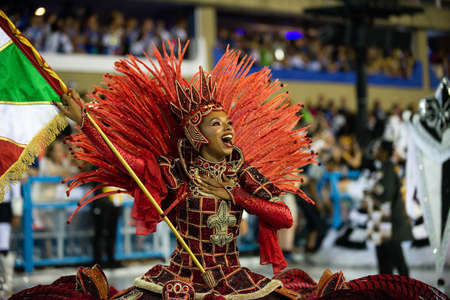 Rio, Brazil - march 03, 2019: Grande Rio during the Carnival Samba School Carnival RJ 2019, at Sambodromo