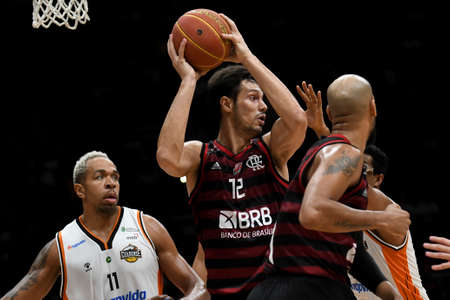 Rio, Brazil - february 03, 2020: Mineiro in match between Flamengo and Cearense by the brazilian basketball league (NBB) in Maracanazinho Stadium Editorial
