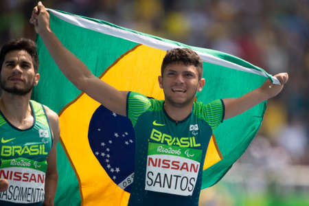 Rio, Brazil - september 11, 2016: FERREIRA dos SANTOS Petrucio (BRA), during men's 100m T47 final, in the Rio 2016 Paralympics Games. Publikacyjne