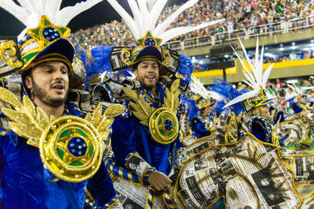 Rio, Brazil - march 03, 2019: Vila Isabel during the Carnival Samba School Carnival RJ 2019, at Sambodromo Publikacyjne