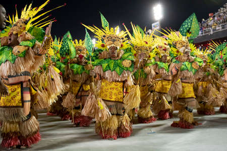Rio, Brazil - February 23, 2020: parade of the samba school Grande Rio, at the Marques de Sapucai Sambodromo