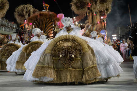 Rio, Brazil - February 23, 2020: parade of the samba school Grande Rio, at the Marques de Sapucai Sambodromo. Honorary Committee