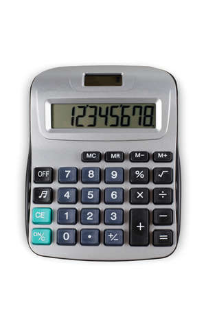 pocket calculator on white background seen from above
