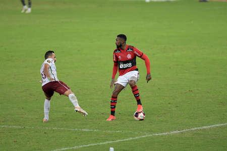 Rio, Brazil - May 22, 2021: Gerson player in match between Flamengo vs Fluminense by Final Carioca Championship in Maracana Stadium