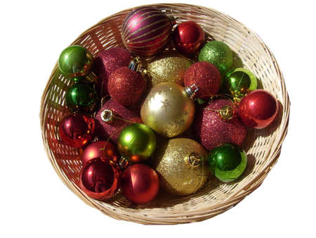 basket of red gold and green christmas tree decorations baubles stock photo 3376577