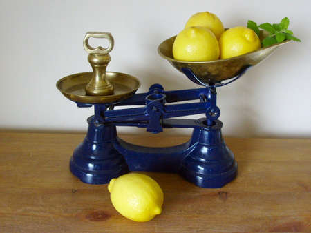 ktchen: Display of Kitchen scales, lemons, brass weight
