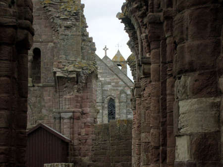 priory: Many angled roofs, Lindisfarne Priory