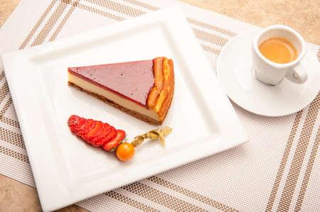 cheesecake: cheesecake and strawberries