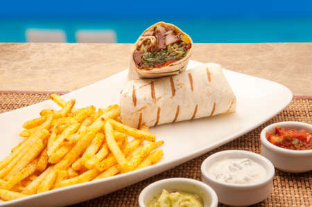 beach wrap: Wrap the meat in the beach