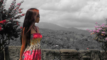 pinay: Filipina at Sibulan Peeks, in selective color Stock Photo