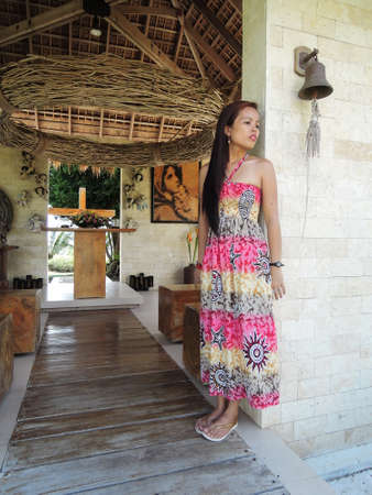 pinay: Filipina at a native catholic chapel in Sibulan, Negros Oriental