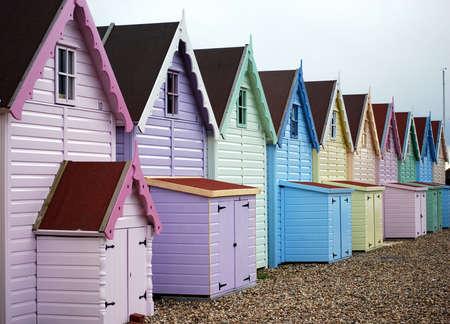 pastel shades: pastel beach huts Stock Photo