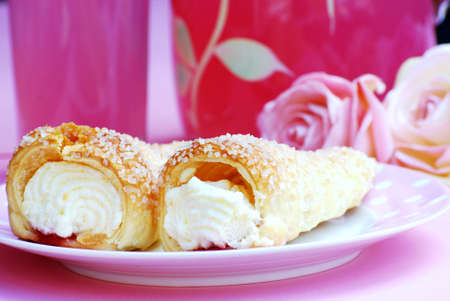afternoon fancy cake: cream horns Stock Photo