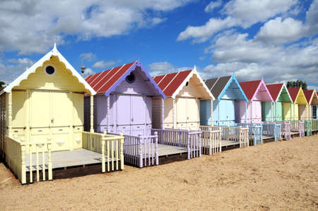 beach huts on the coast  Stock Photo