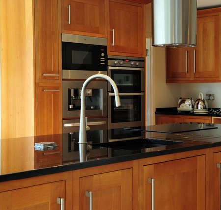 worktop: Newly constructed kitchen Stock Photo