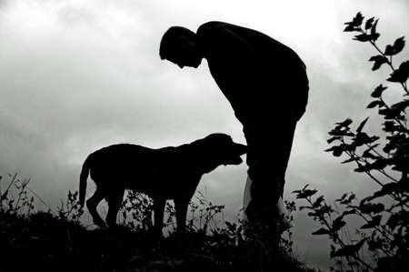 Homme et le chien  Banque d'images - 3535021