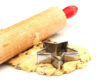 chip and pin: rolling out cookie mixture Stock Photo
