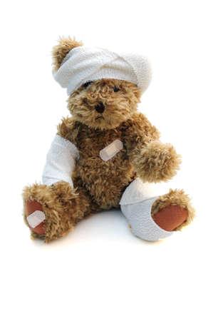 poorly: bandaged teddy