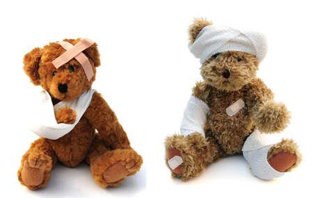 lesionado: mal osos de peluche