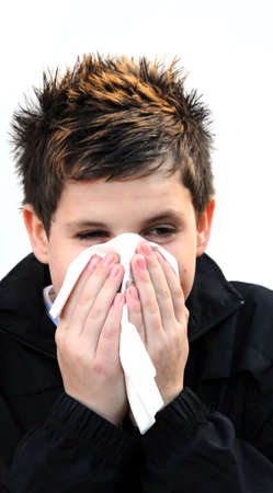 hanky: boy with a cold Stock Photo