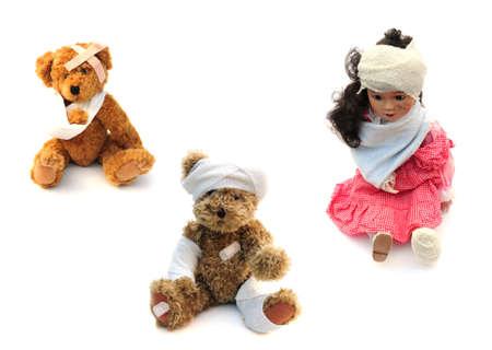 white bandage: injured toys