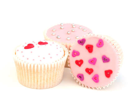 three heart cakes