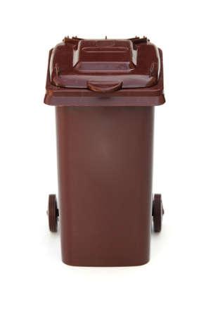rubbish bin: brown wheelie bin